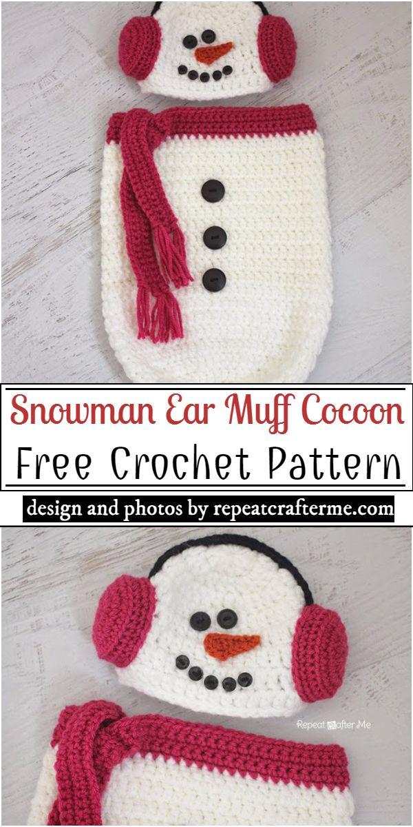 Snowman Ear Muff Cocoon Crochet Pattern