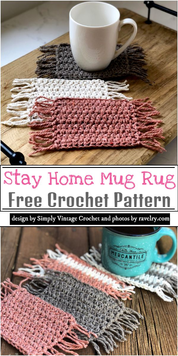 Stay Home Mug Rug Crochet Pattern