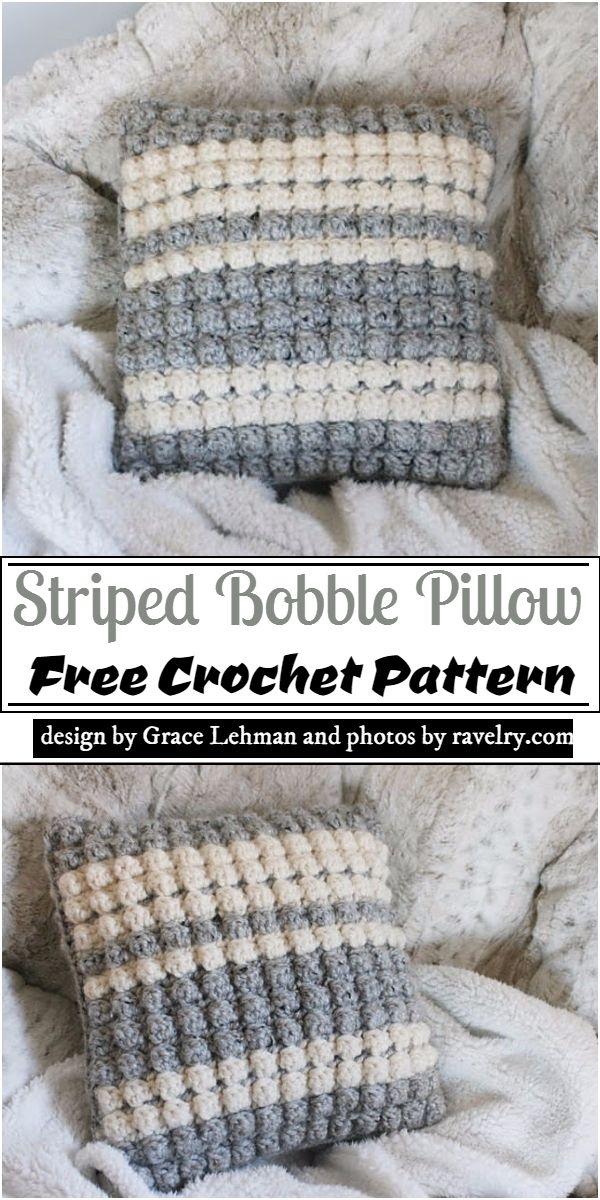 Striped Bobble Pillow Crochet Pattern