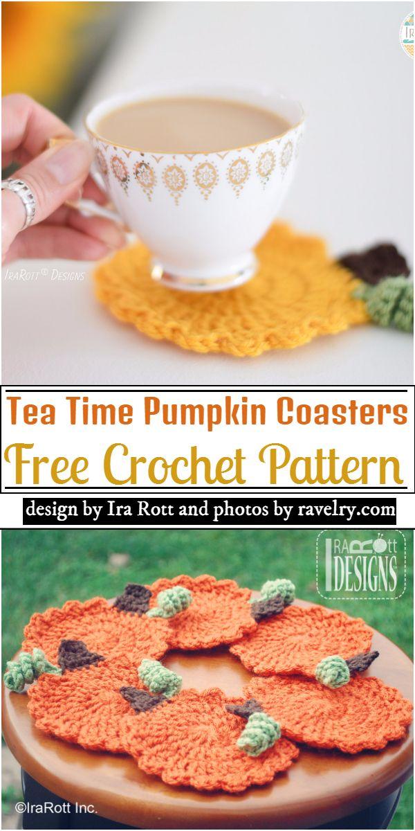 Tea Time Pumpkin Coasters Crochet Pattern