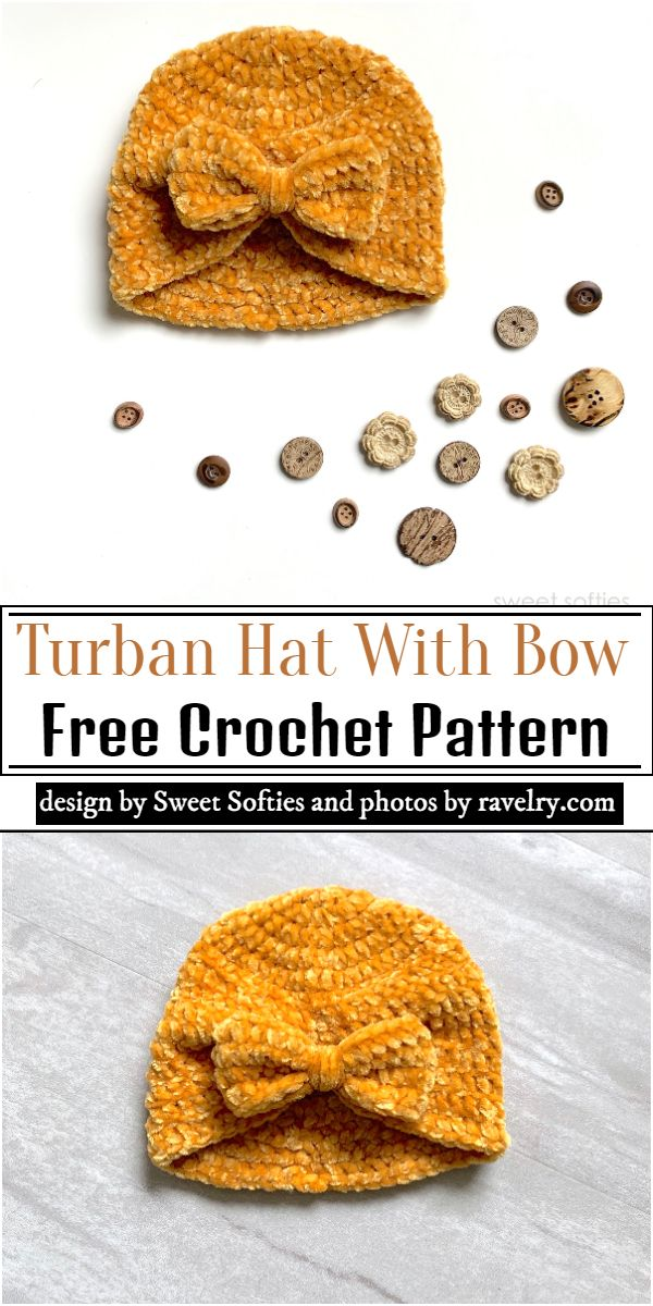 Turban Hat With Bow Crochet Pattern