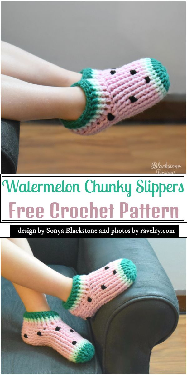Watermelon Chunky Slippers Crochet Pattern