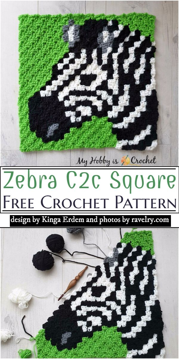 Zebra C2c Square Crochet Pattern
