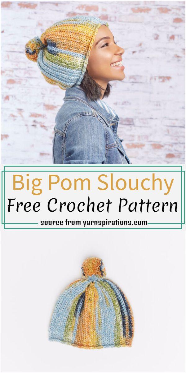 Big Pom Slouchy Crochet Pattern