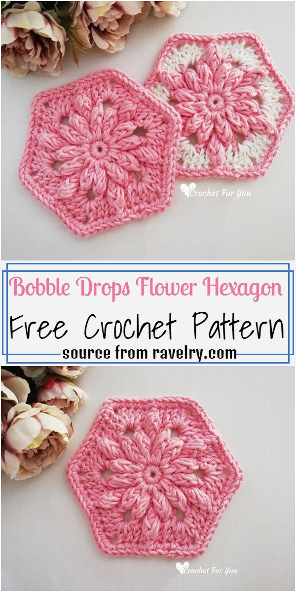 Bobble Drops Flower Hexagon Crochet Pattern