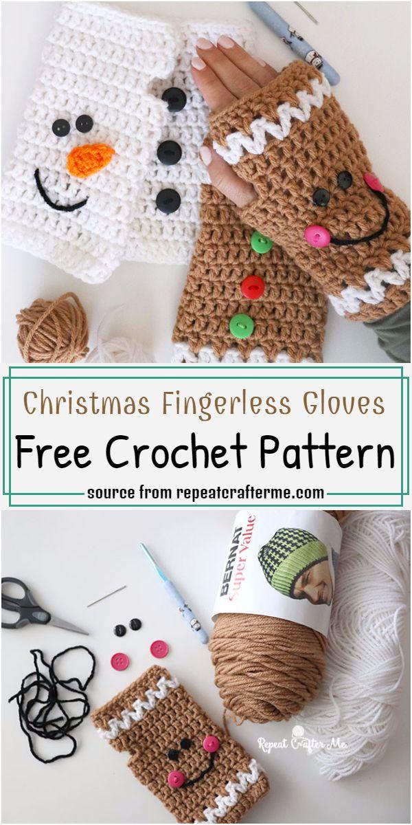 Christmas Fingerless Gloves Crochet Pattern