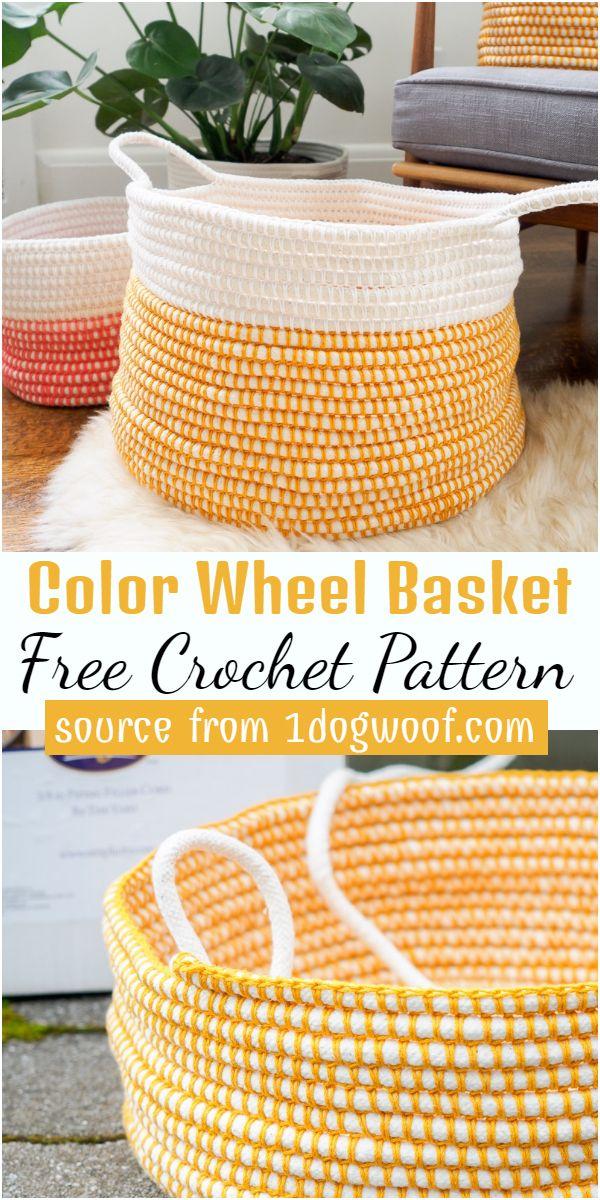 Color Wheel Basket Crochet Pattern
