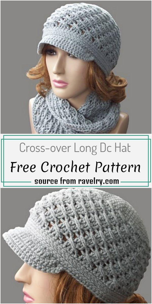 Cross-over Long Dc Hat Crochet Pattern