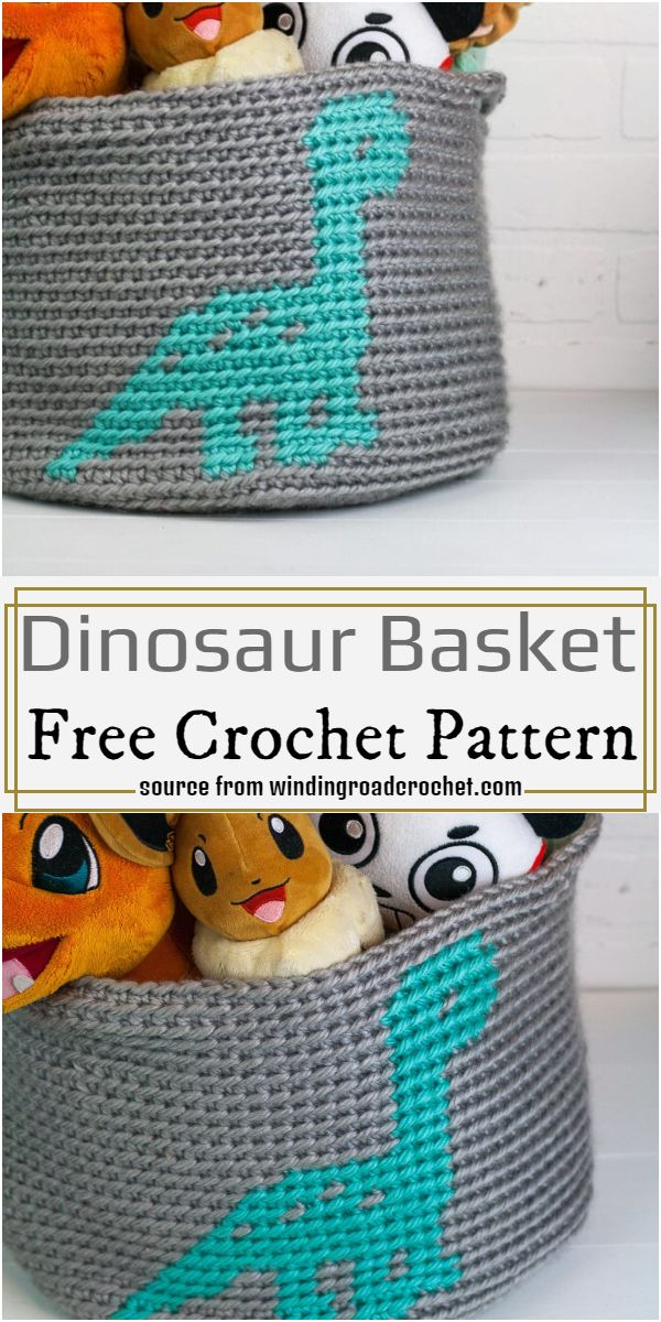 Dinosaur Basket Crochet Pattern