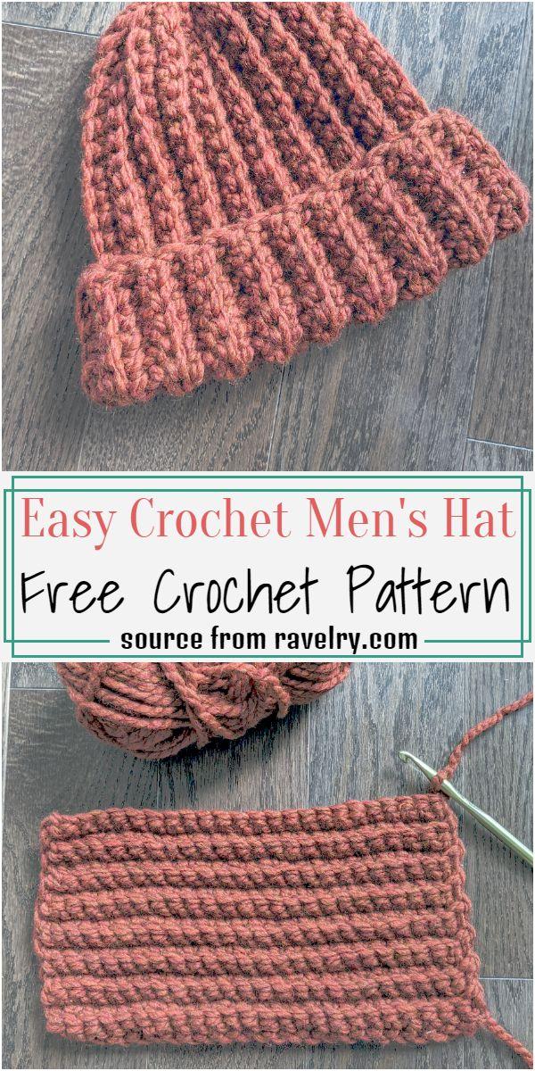 Easy Crochet Men's Hat Crochet Pattern