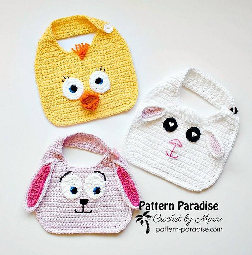Free Crochet Animal Friends Bibs Pattern