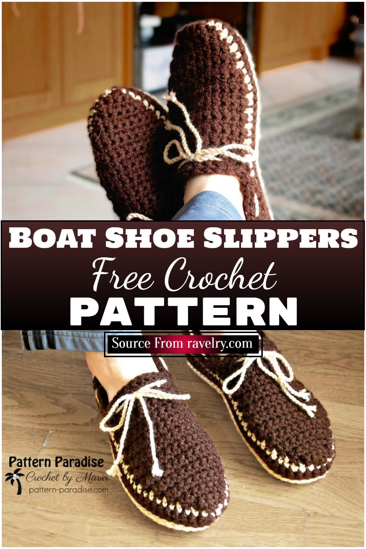Free Crochet Boat Shoe Slippers Pattern