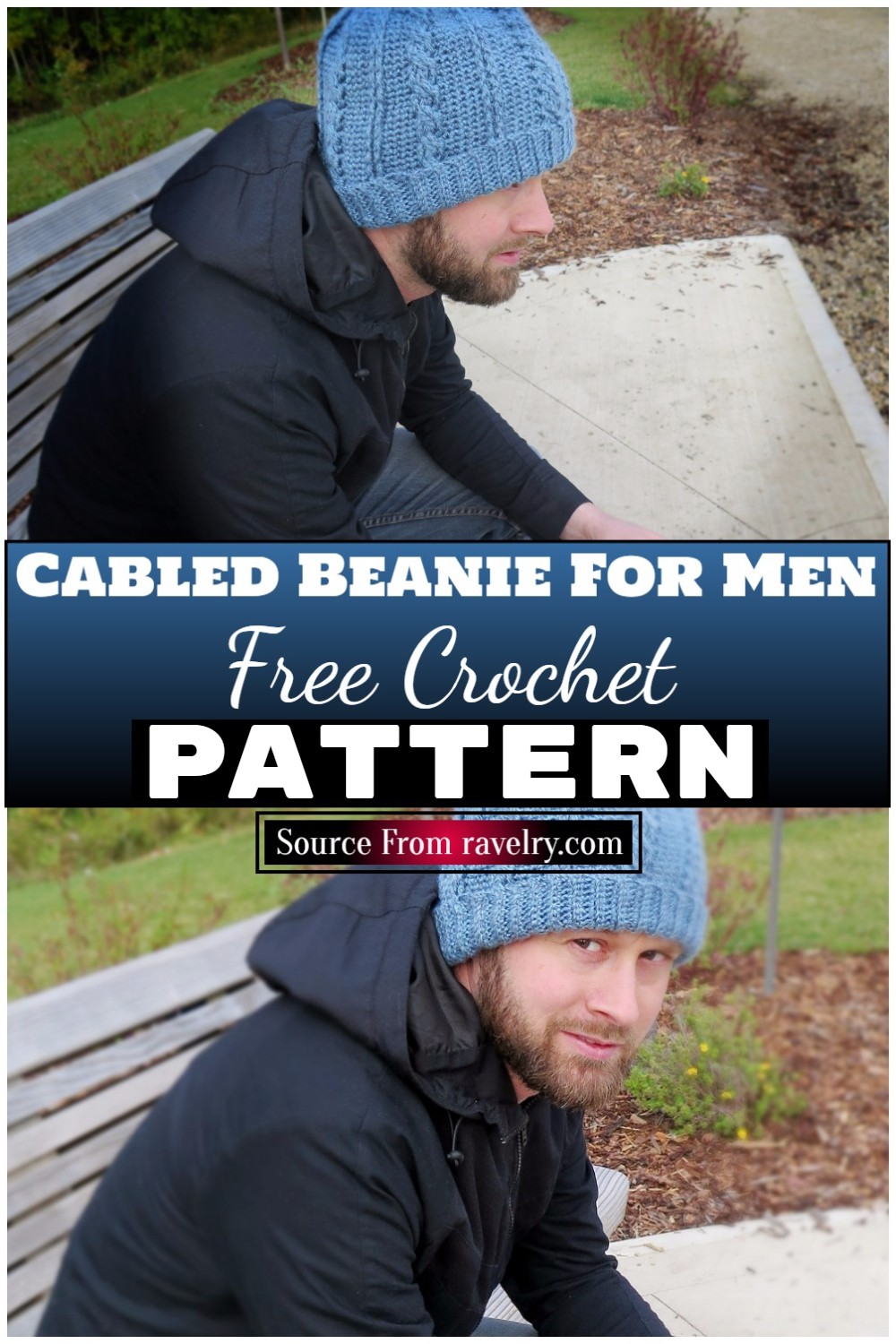 Free Crochet Cabled Beanie For Men 1