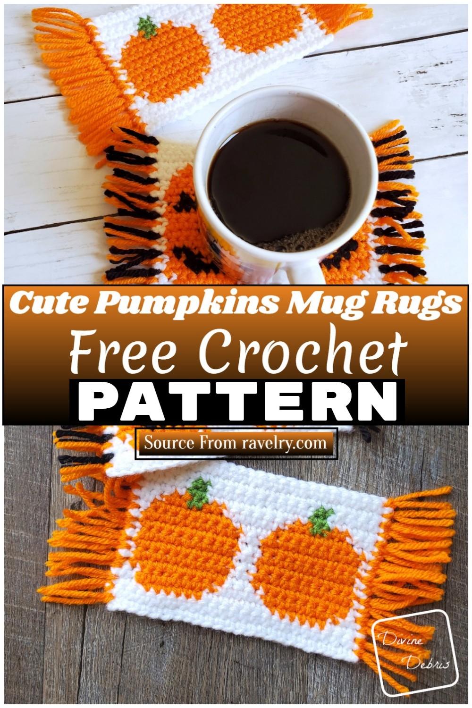 Free Crochet Cute Pumpkins Mug Rugs 1