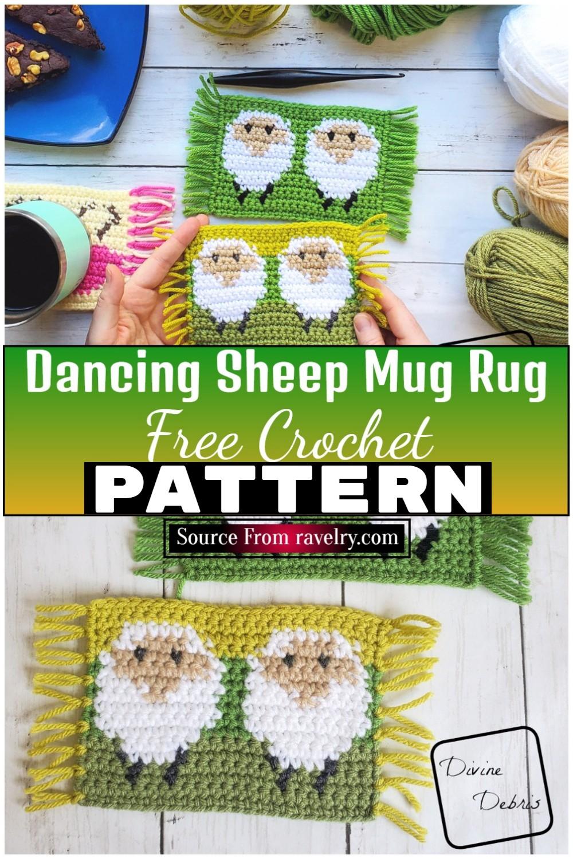 Free Crochet Dancing Sheep Mug Rug 1