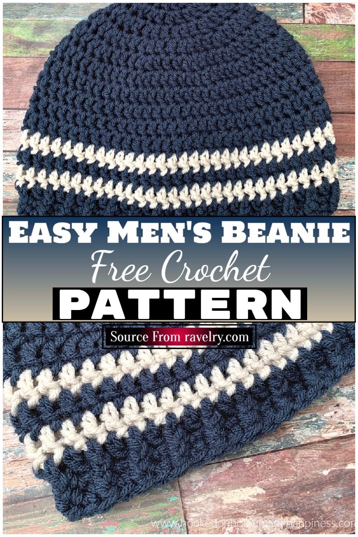 Free Crochet Easy Men's Beanie 1