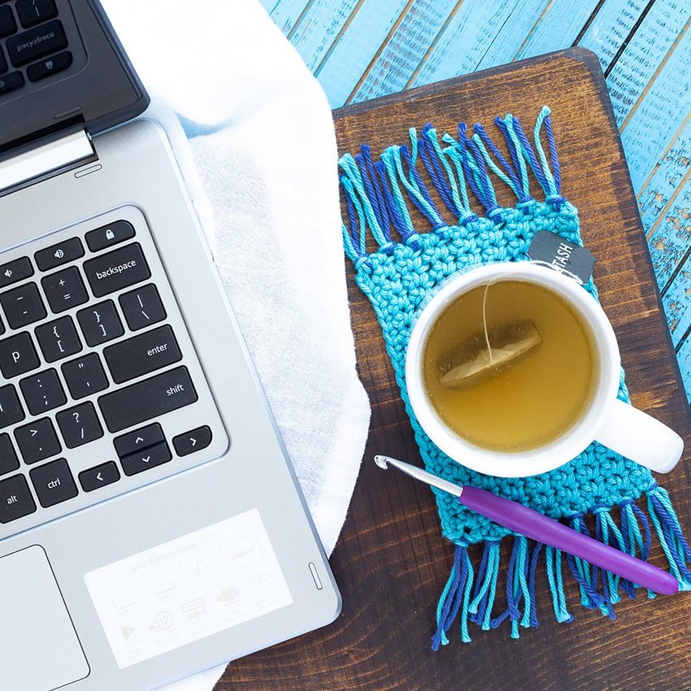 Free Crochet Fringed Mug Rugs