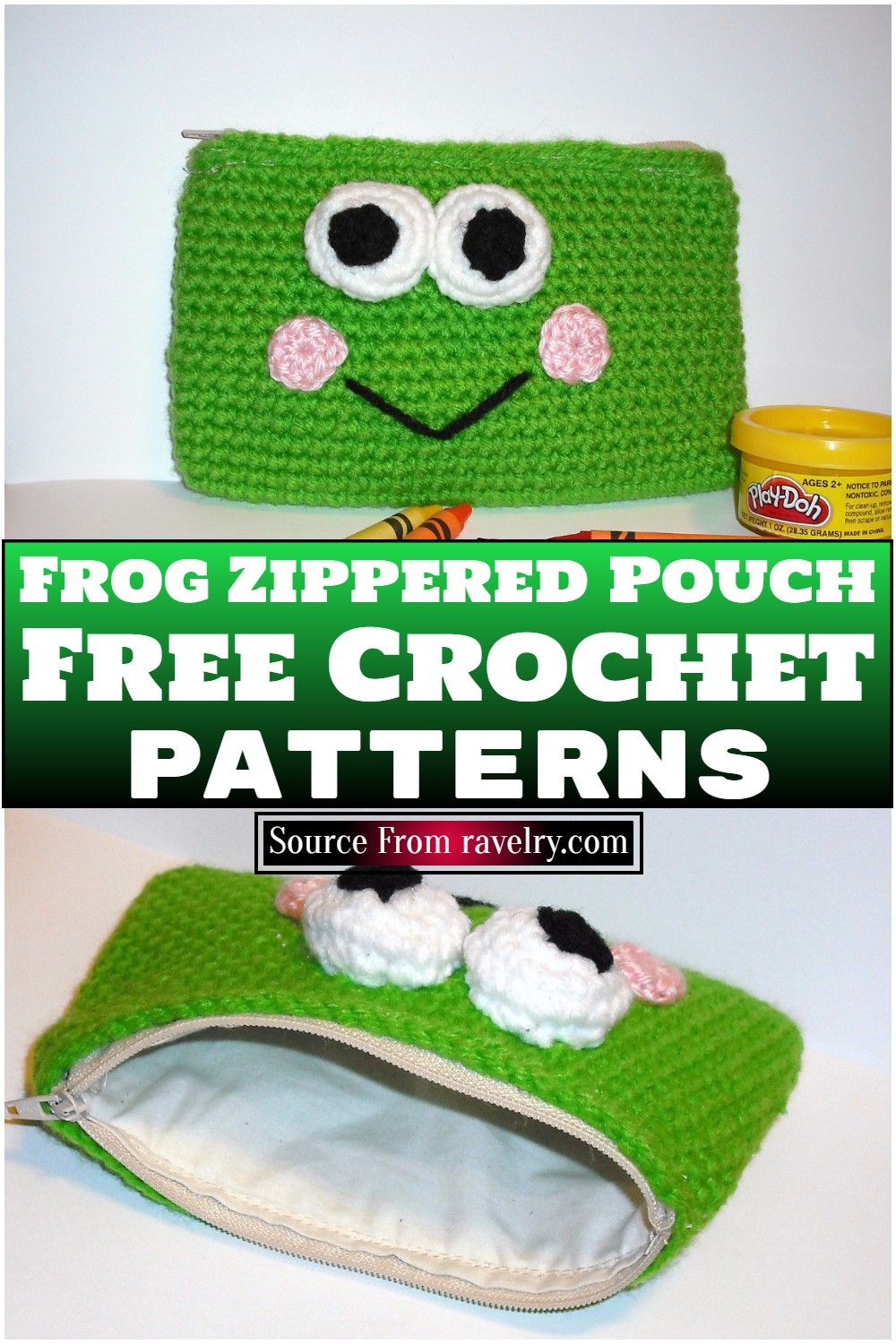 Free Crochet Frog Zippered Pouch