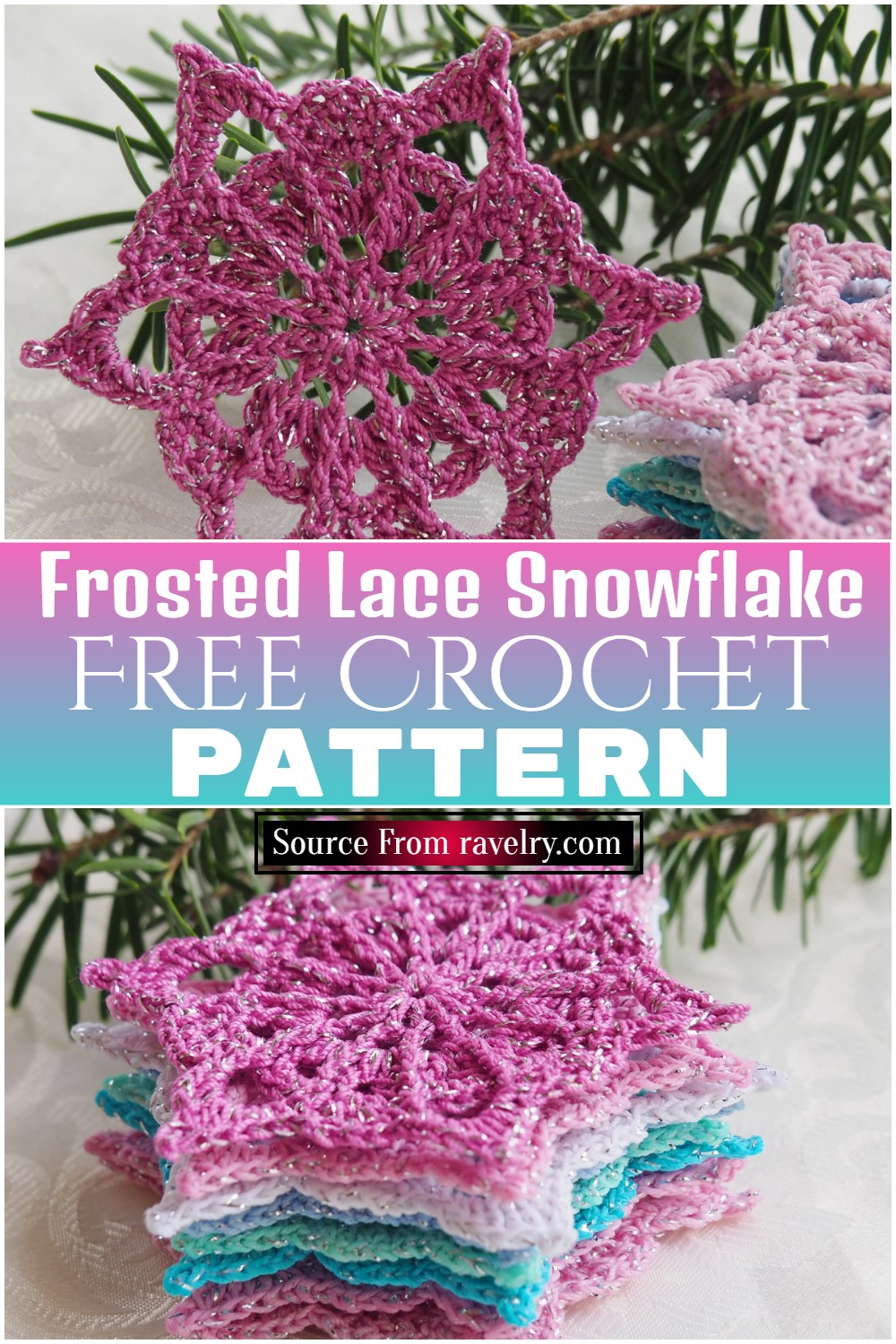 Free Crochet Frosted Lace Snowflake pattern