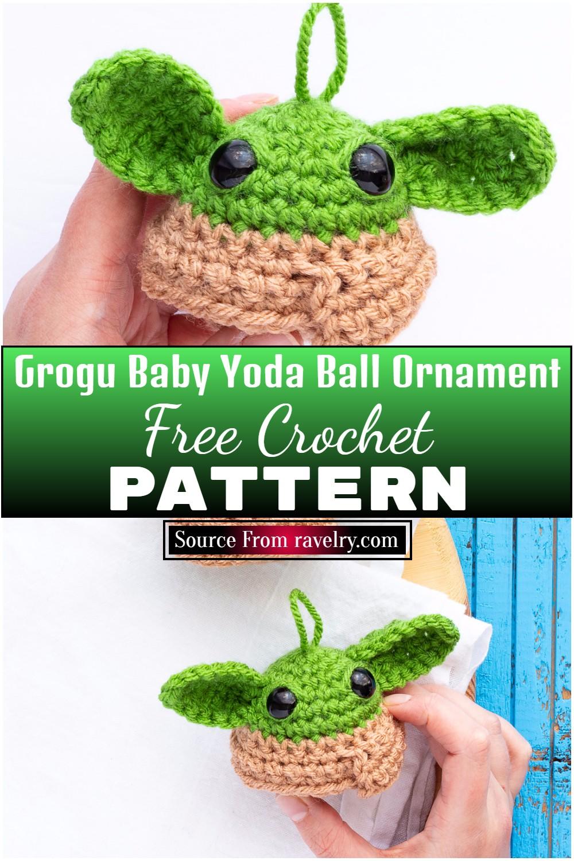 Free Crochet Grogu Baby Yoda Ball Ornament Pattern