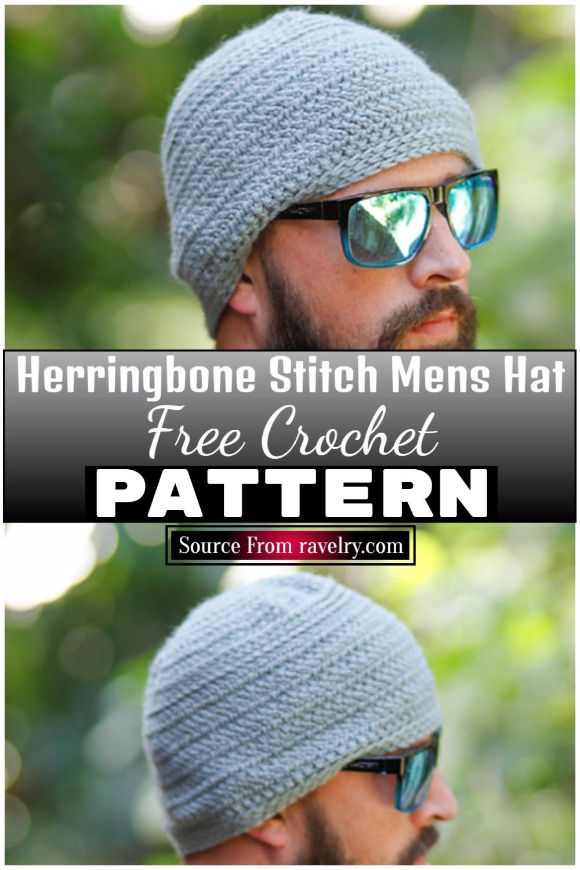 Free Crochet Herringbone Stitch Mens Hat 1