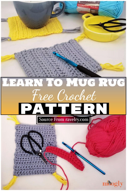 Free Crochet Learn To Mug Rug 1
