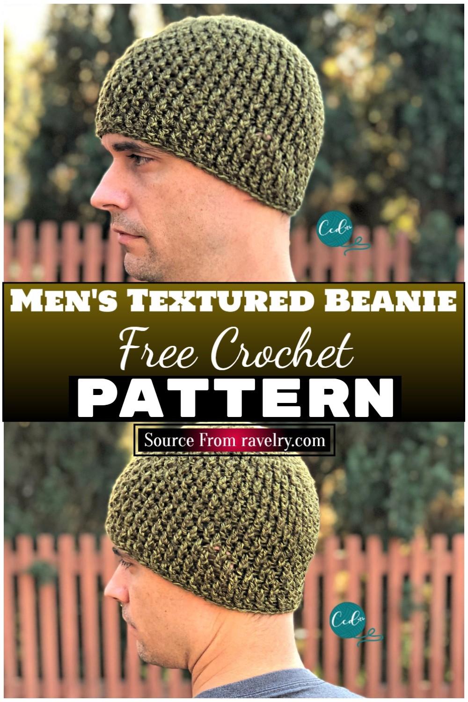 Free Crochet Men's Textured Beanie 1