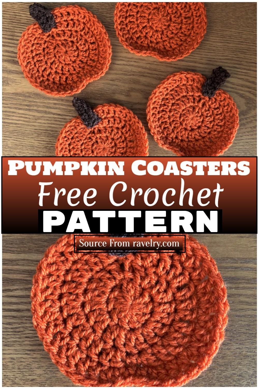 Free Crochet Pumpkin Coasters 1