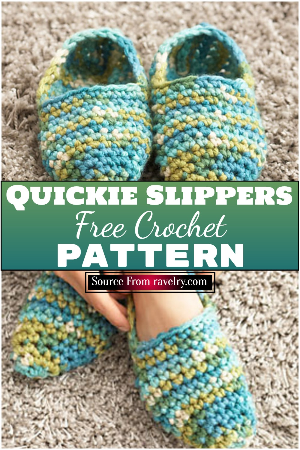 Free Crochet Quickie Slippers Pattern