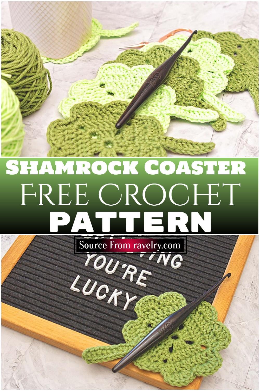 Free Crochet Shamrock Coaster pattern