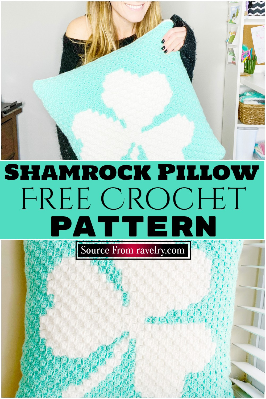Free Crochet Shamrock Pillow pattern