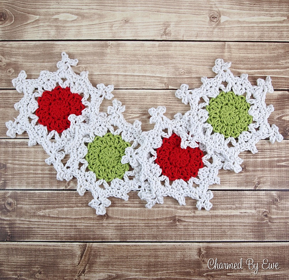Free Crochet Snowflake Coasters pattern