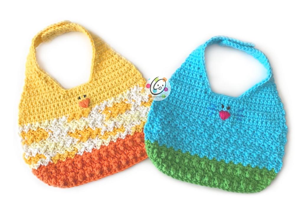 Free Crochet Spring Baby Bibs Pattern