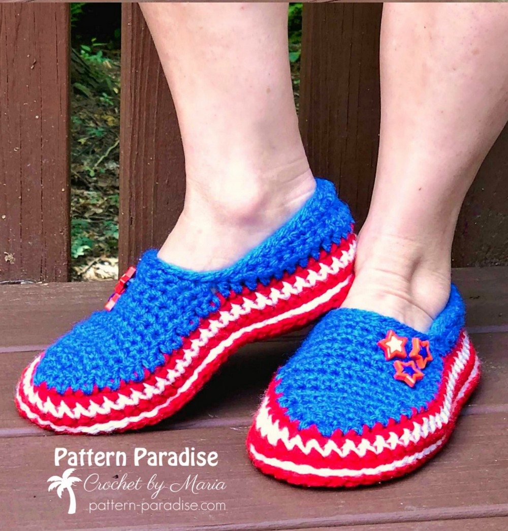 Free Crochet Stars And Stripes Slippers Pattern
