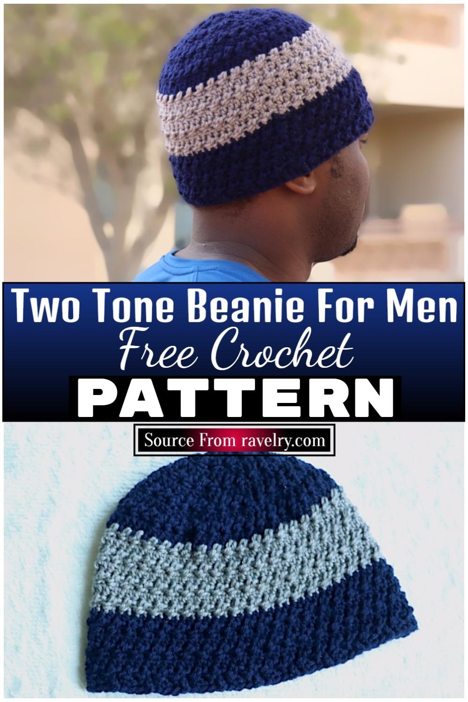 Free Crochet Two Tone Beanie For Men 1
