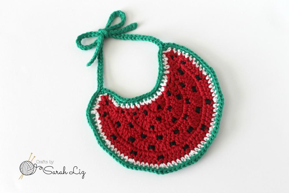 Free Crochet Watermelon Baby Bib Pattern
