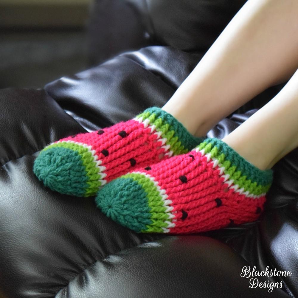 Free Crochet Watermelon Chunky Slippers Pattern