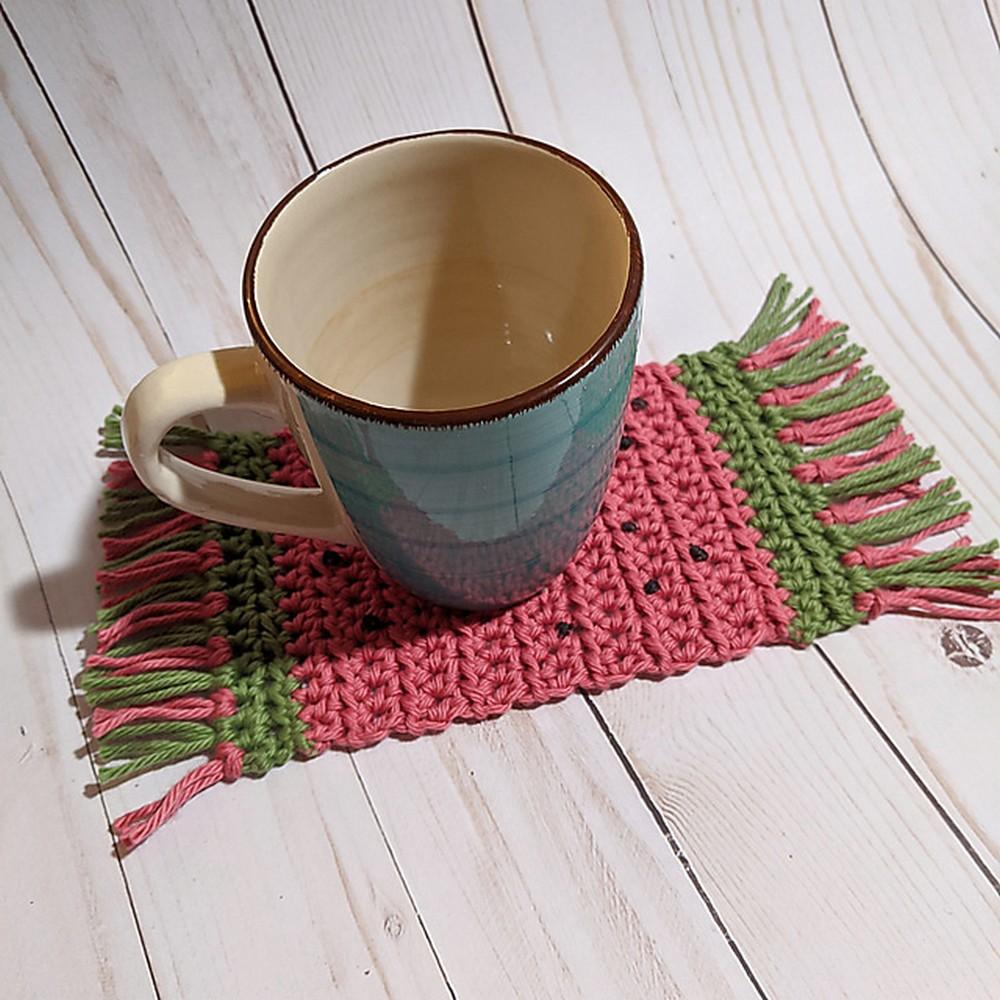 Free Crochet Watermelon Mug Rug