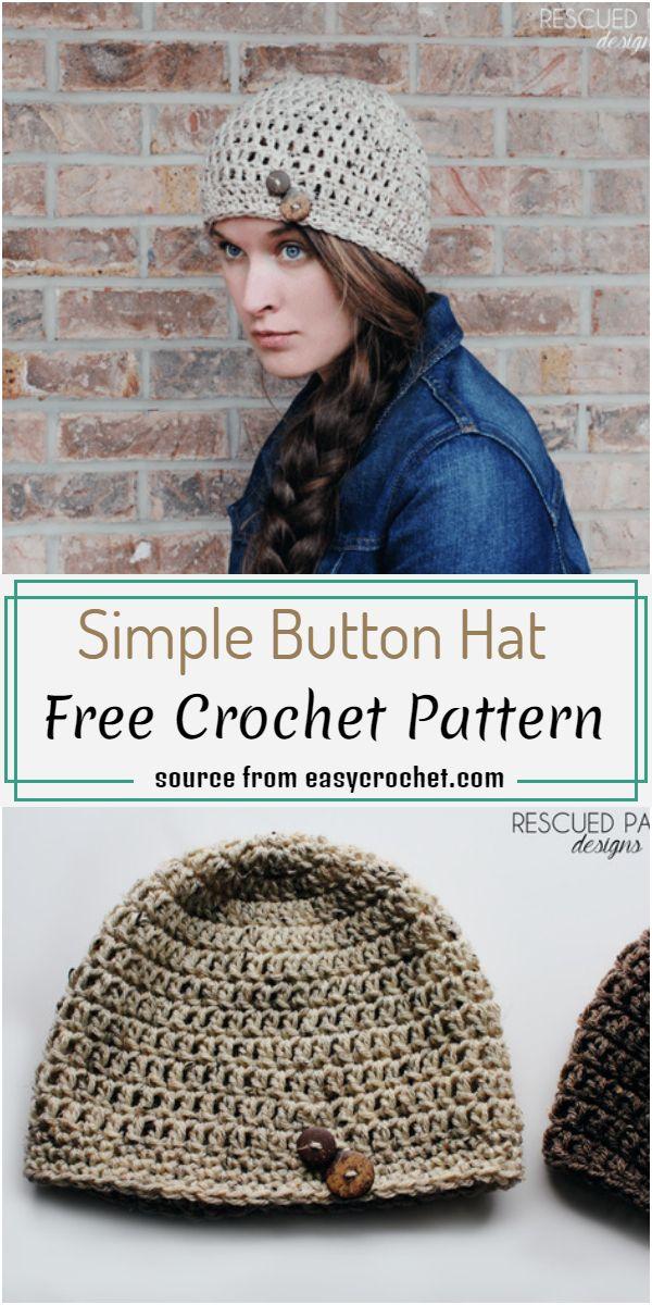 Free Simple Button Hat Crochet Pattern