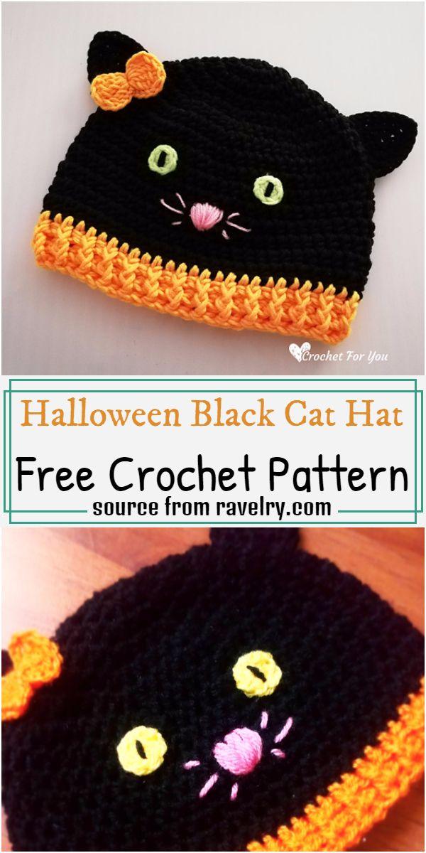Halloween Black Cat Hat Crochet Pattern