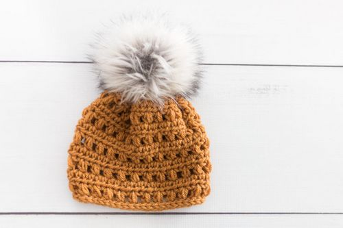 Hat With Fur Pom Pom Crochet Pattern