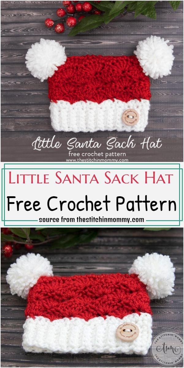 Little Santa Sack Hat Crochet Pattern