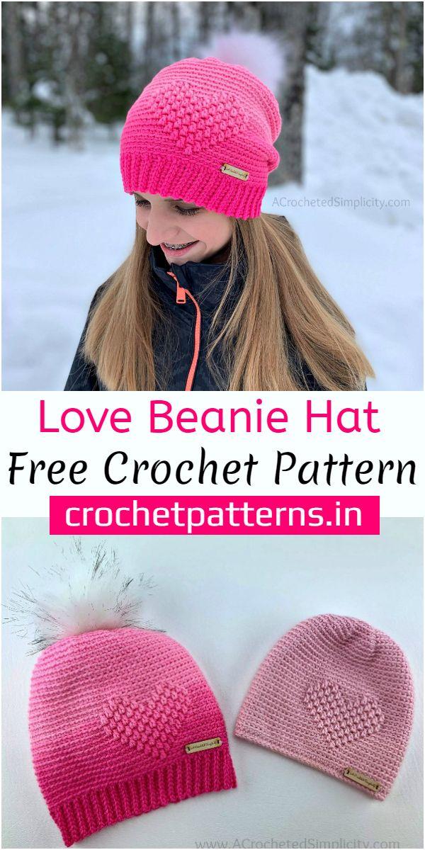 Love Beanie Hat Crochet Pattern