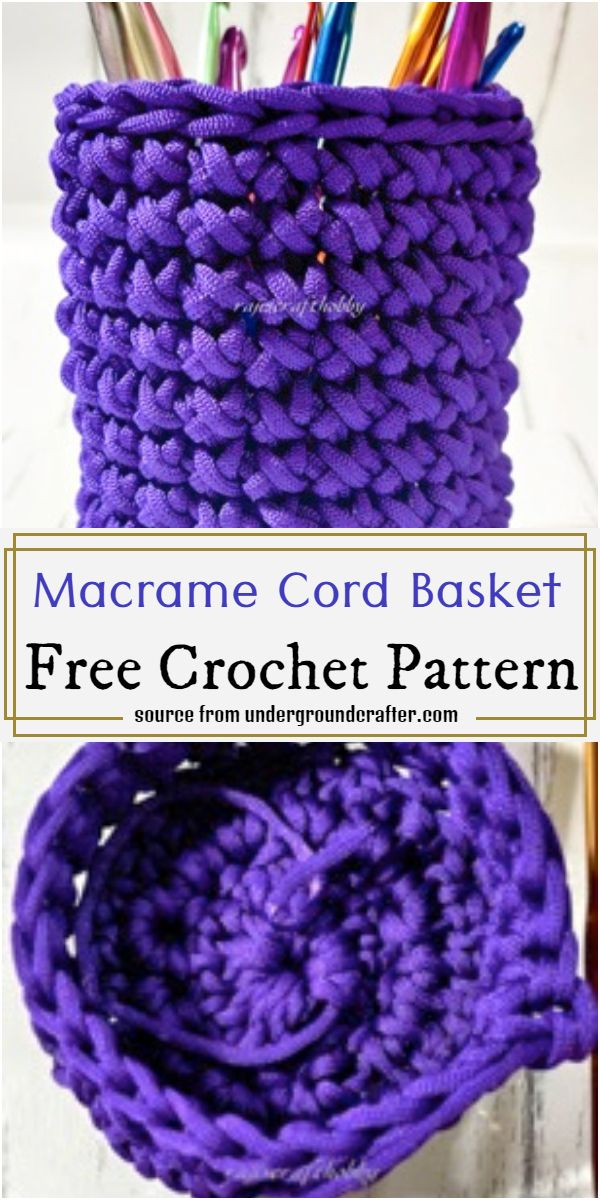 Macrame Cord Basket Crochet Pattern