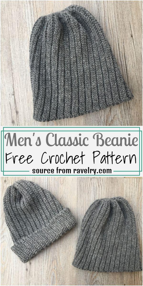 Men's Classic Beanie Crochet Pattern