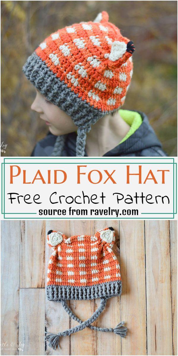 Plaid Fox Hat Crochet Pattern