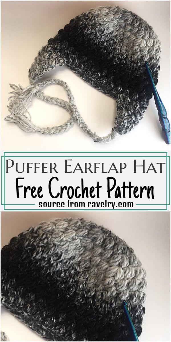 Puffer Earflap Hat Crochet Pattern