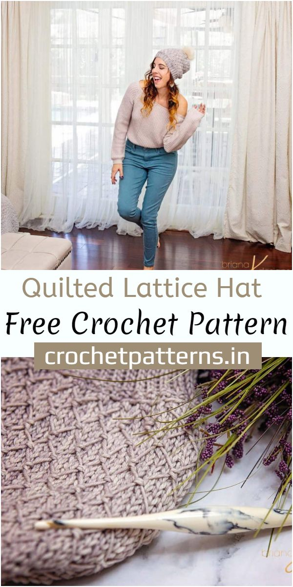 Quilted Lattice Hat Crochet Pattern