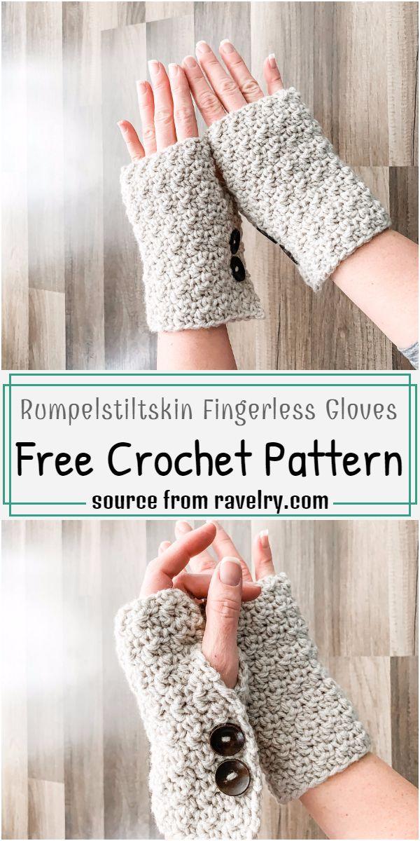 Rumpelstiltskin Fingerless Gloves Crochet Pattern