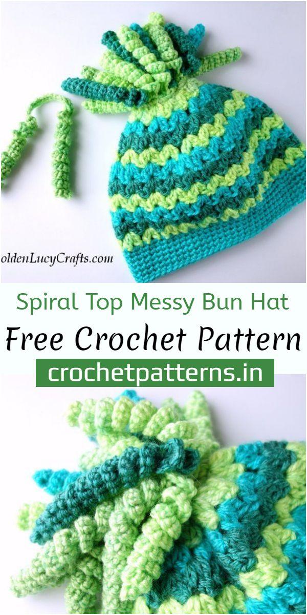 Spiral Top Messy Bun Hat Crochet Pattern